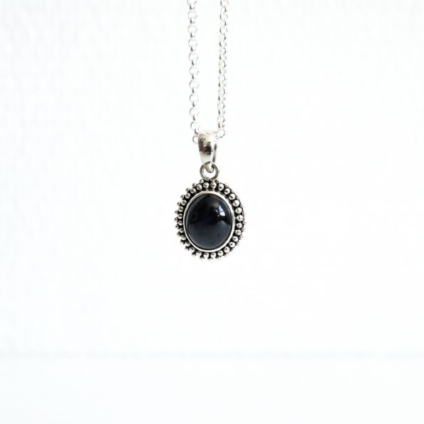 Black Star Sapphire Pendant with Necklace