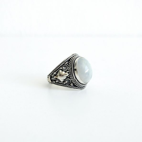 Rainbow Moonstone Princess handcrafted sterling silver ring