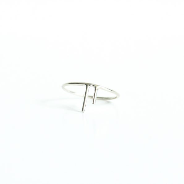 Two Stripe Asymmetrical sterling silver ring edgy