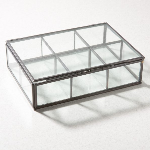 Glass jewelry display box - 6 partition black