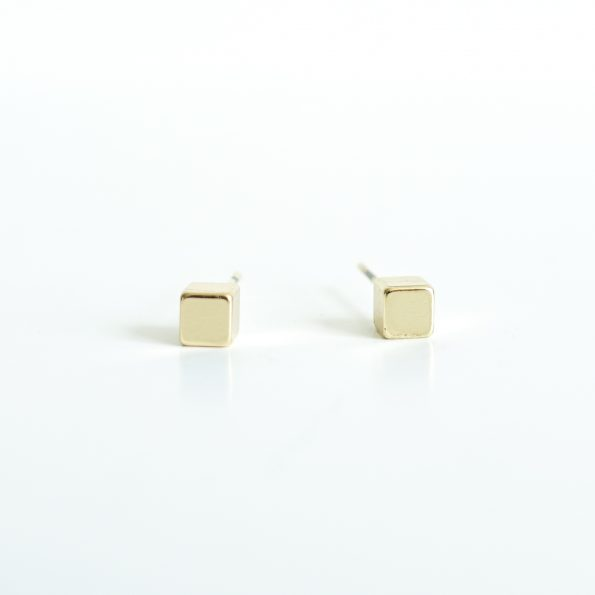 cubes gold plated ear studs jewelry