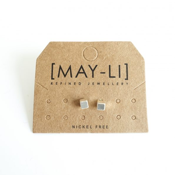 cubes silver ear studs jewelry plated