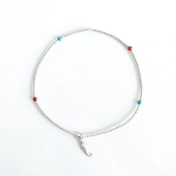 Anklets silver beads seahorse