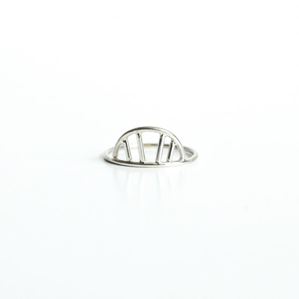 abstract sunrise sterling silver ring