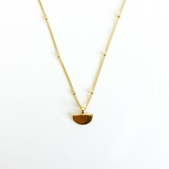 Half disc necklace gold