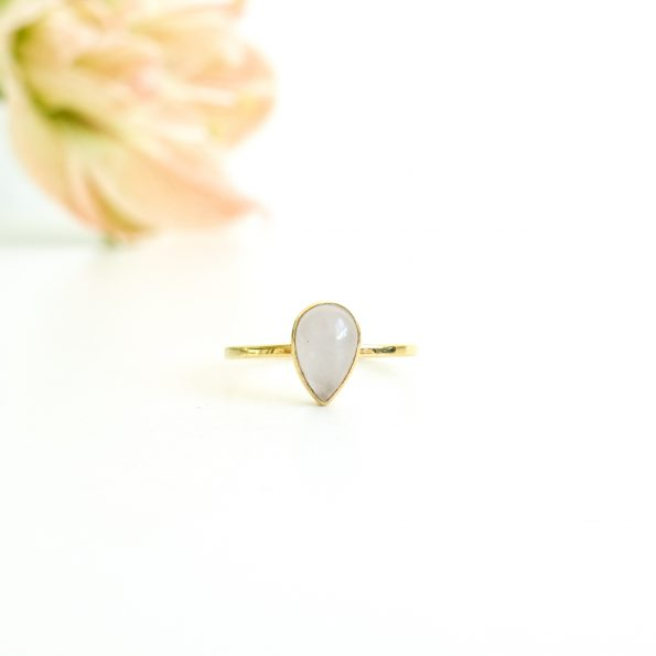 Quartz, Rose Quartz Drop Gold, mayli-jewels.com