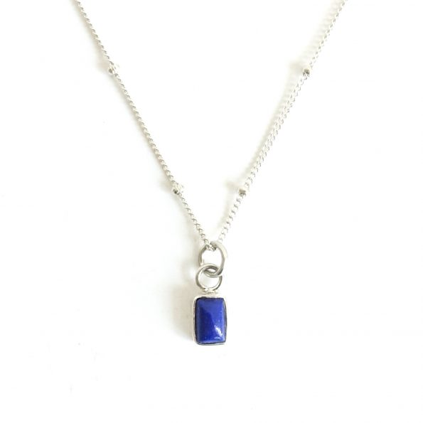 , Birthstone Necklace Initial Lapis Lazuli – Dec, Sep, mayli-jewels.com