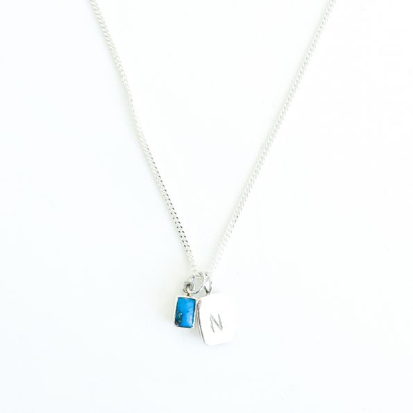 turquoise, Birthstone Necklace Initial Turquoise Gold Veins – Jul, Dec, mayli-jewels.com
