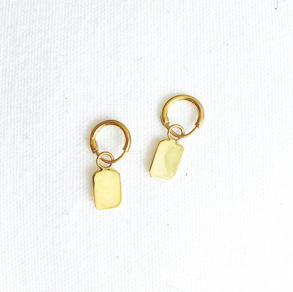 earring rectangle gold