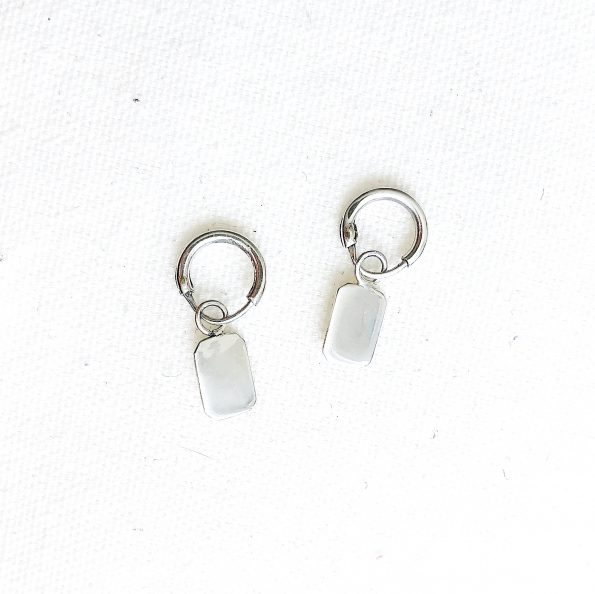 earring silver rectangle