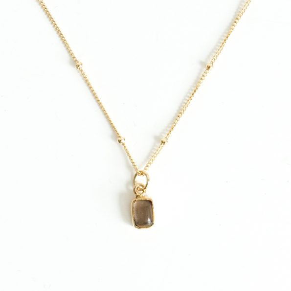 smoky, Birthstone Necklace Initial Smoky Quartz G – Jun, Apr, mayli-jewels.com