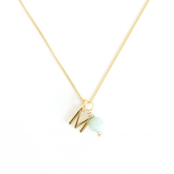 Amazonite, Energy Initial Necklace Amazonite gold – Empowering and Self-discovery, mayli-jewels.com