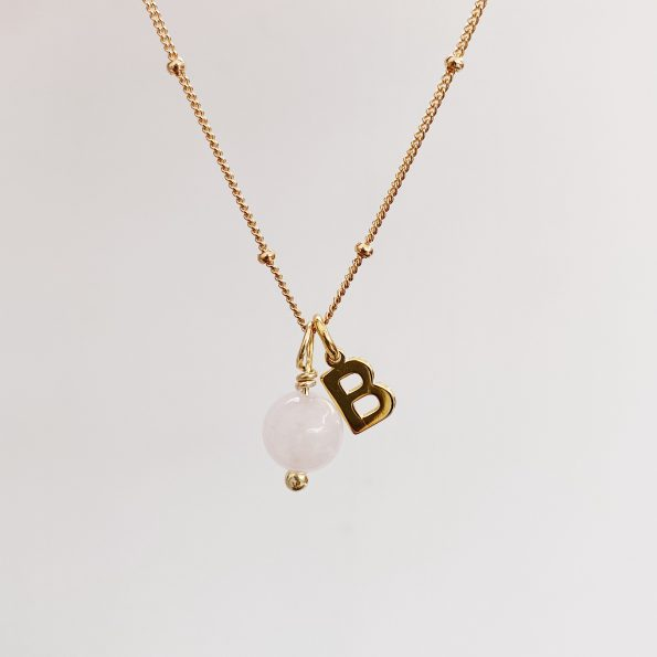 , Energy Initial Necklace Rose Quartz gold – Unconditional love, mayli-jewels.com