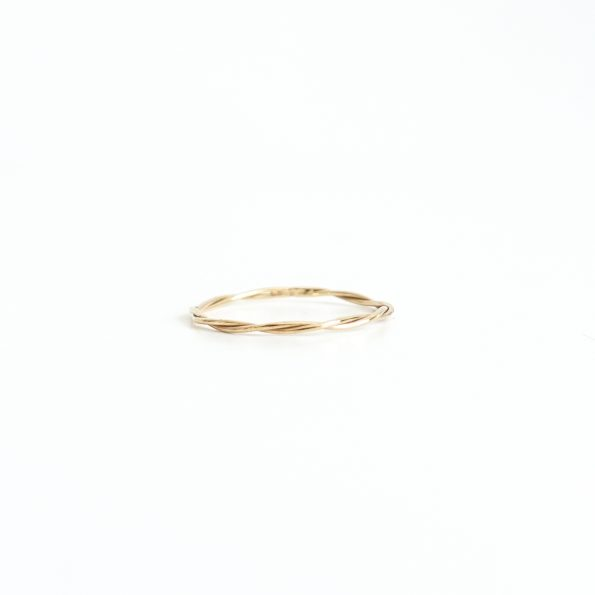 Long twist gold sterling silver ring 18k