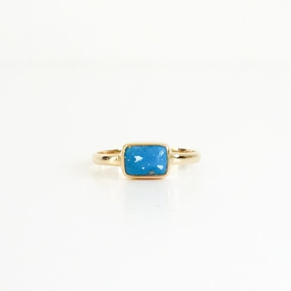 king, Turquoise gold flakes Classic Rectangle gold, mayli-jewels.com