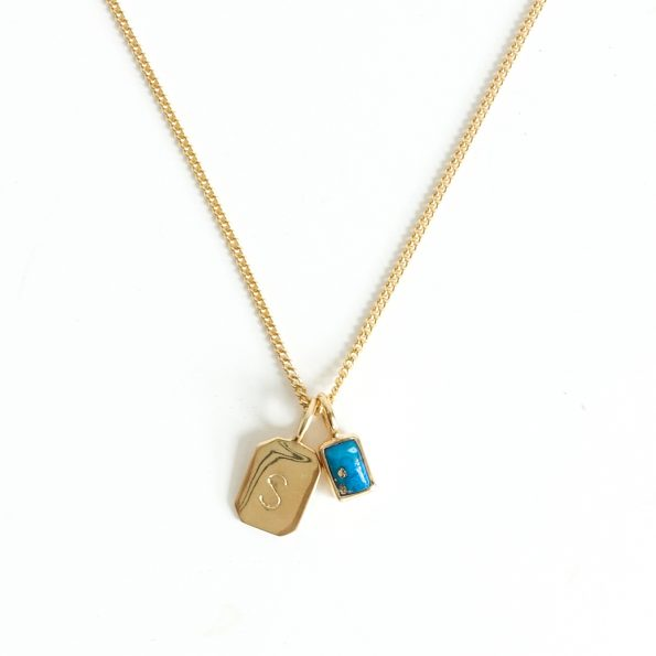 birthstone, Birthstone Necklace Initial Turquoise gold veins G – Jul, Dec, mayli-jewels.com