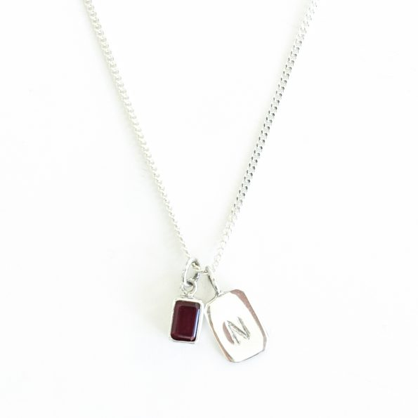 garnet gold plated sterling silver birthstone necklace initial