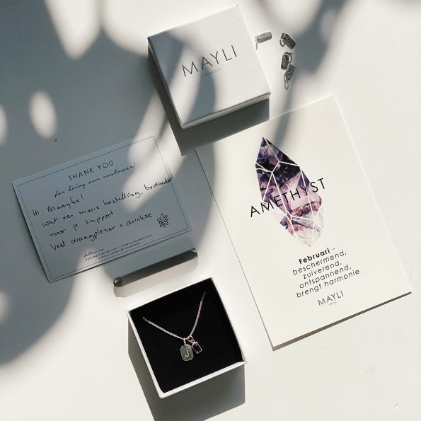 amethyst sterling silver birthstone necklace initial