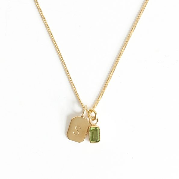 peridot gold plated sterling silver birthstone necklace initial