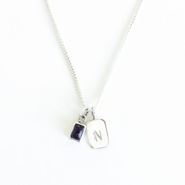 amethyst gold plated sterling silver birthstone necklace initial