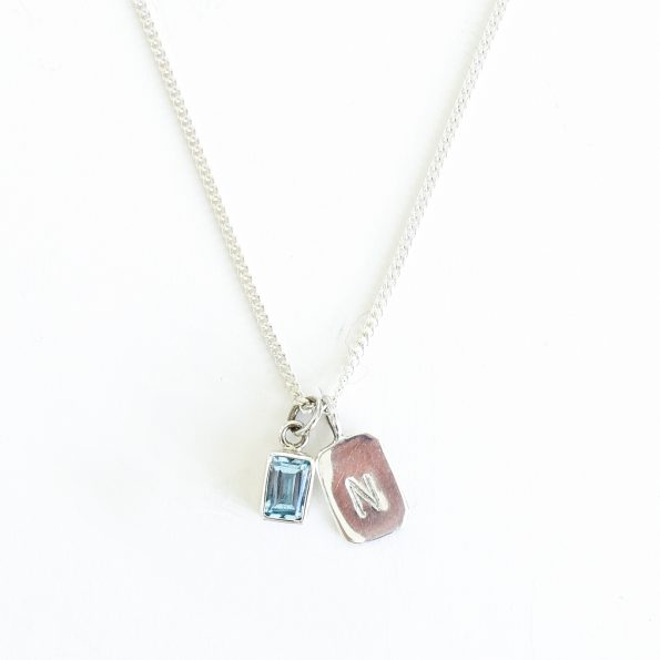 aquamrine gold plated sterling silver birthstone necklace initial