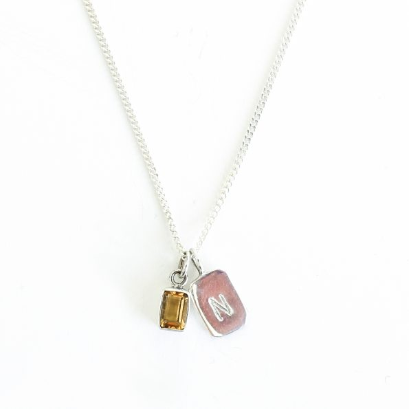 citrine gold plated sterling silver birthstone necklace initial