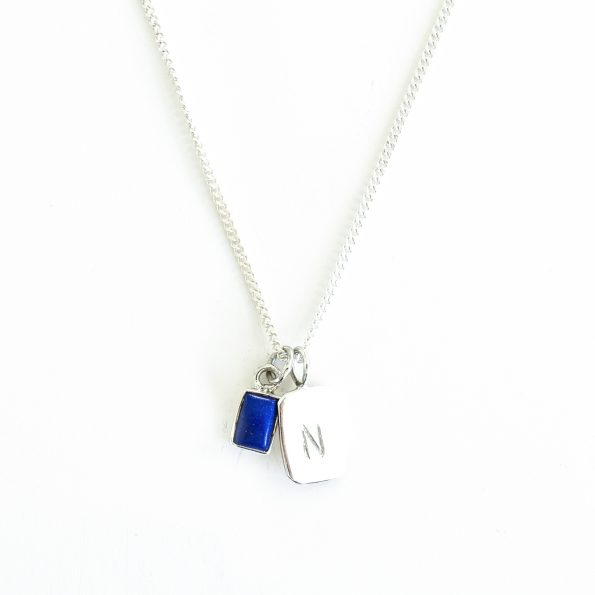 lapis lazuli gold plated sterling silver birthstone necklace initial