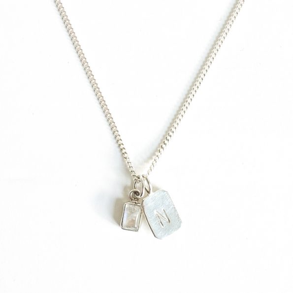 moonstone gold plated sterling silver birthstone necklace initial