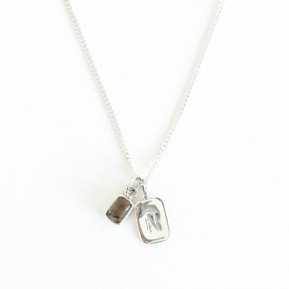 smoky quartz gold plated sterling silver birthstone necklace initial